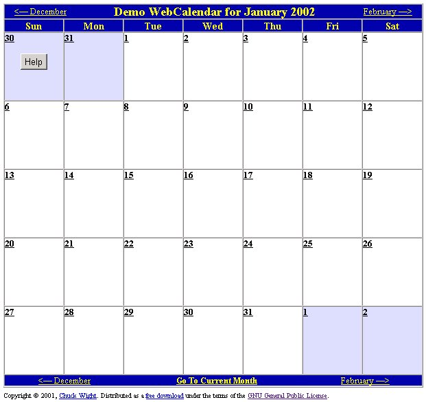 Demo WebCalendar Image